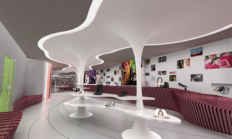 设计中从研究百丽的历史出发,意在为百丽营造一个未来主义的展览空间图片